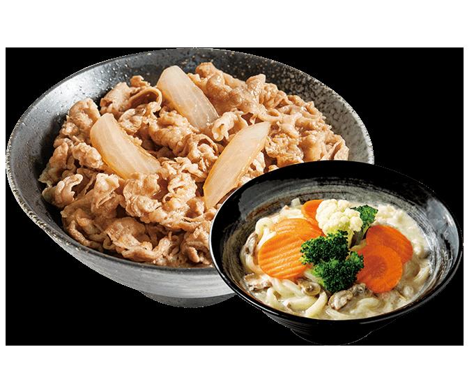小牛/豚丼+奶油蘑菇烏龍麵