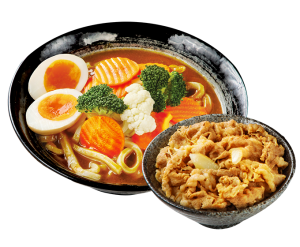 湯咖哩烏龍麵+小牛/豚丼